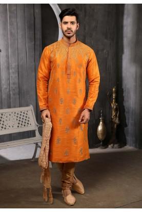 Rust Colour Designer Kurta Pajama.