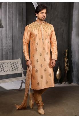 Peach Colour Banarasi Silk Kurta Pajama.