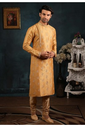 Beige Colour Wedding Kurta Pajama.