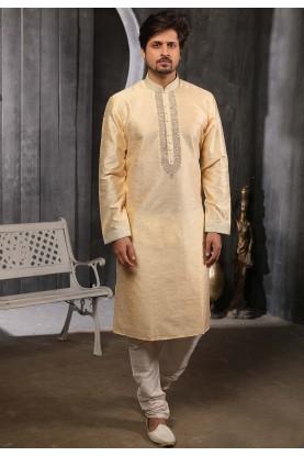 Golden Colour Brocade Silk Kurta Pajama.