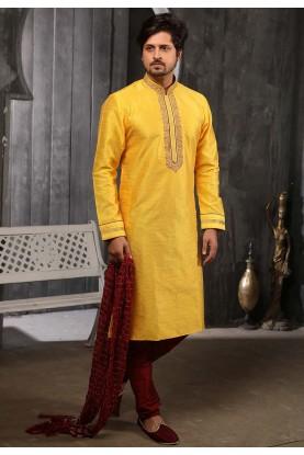 Indian Wedding Kurta Pajama Yellow Colour.