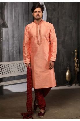 Peach Colour Banarasi Silk Readymade Kurta Pajama.