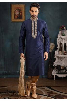 Blue Colour Embroidered Kurta Pajama.