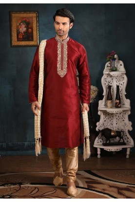 Maroon Colour Indian Kurta Pajama.