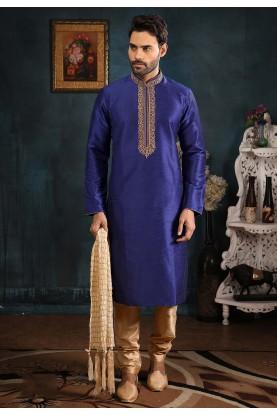 Blue Colour Banarasi Silk Men's Kurta Pajama.