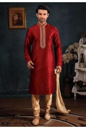 Indian Designer Kurta Pajama Maroon Colour.