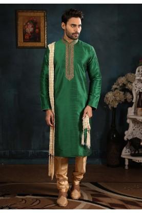 Green Colour Designer Kurta Pajama.