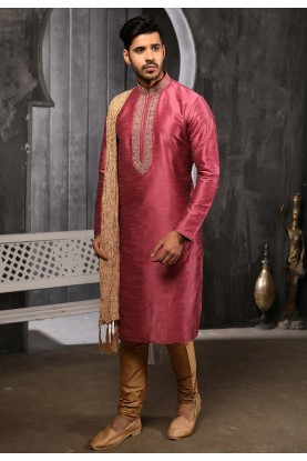 Pink Colour Banarasi Silk Kurta Pajama.