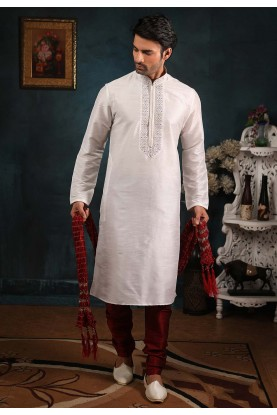Off White Colour Wedding Kurta Pajama.