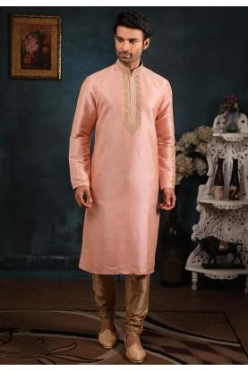 Peach Colour Indian Wedding Kurta Pajama.