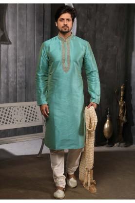 Pista Colour Banarasi Silk Kurta Pajama.