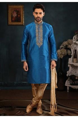 Blue Colour Party Wear Readymade Kurta Pajama.