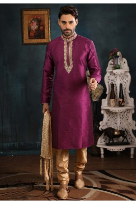 Designer Men's Wear Kurta Pajama Magenta Colour.