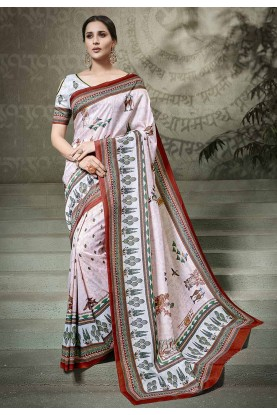 Pink Colour Printed Saree.