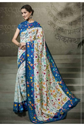 Green,Blue Party Wear Saree.