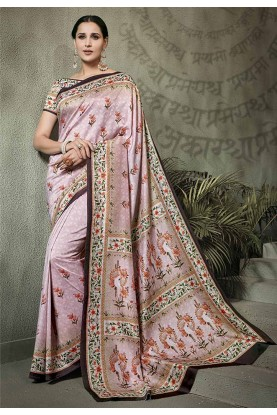 Silk Saree Pink Colour.
