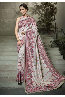 Grey Colour Printed Party Wear Sari.