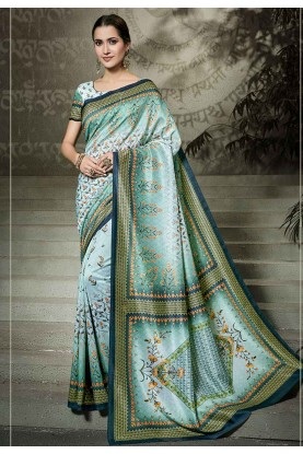 Blue Colour Silk Printed Saree.