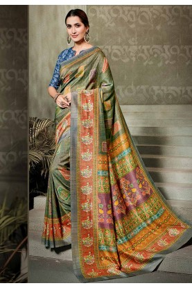 Green Colour Silk Printed Sari.
