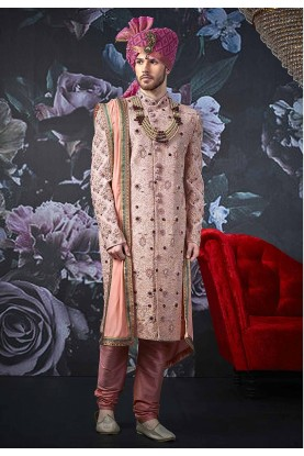Pink Colour Designer Men's Sherwani.