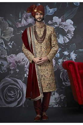Golden Colour Indian Wedding Men's Sherwani.