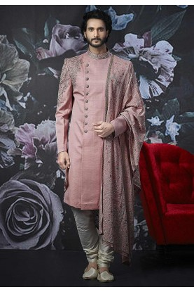 Pink Colour Indian Designer Sherwani.