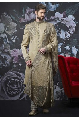 Beige,Golden Colour Art Banarasi Silk Sherwani.