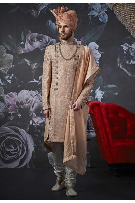 Peach Colour Groom Sherwani.