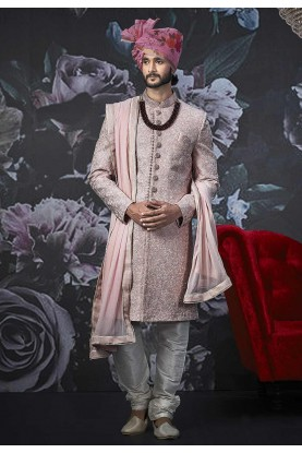 Pink Colour Sherwani for Groom.