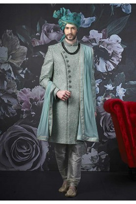 Green Colour Banarasi Silk Sherwani.