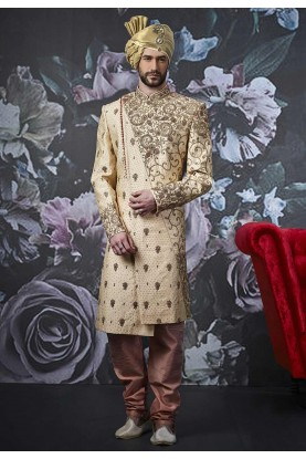 Golden Colour Men's Designer Sherwani.