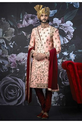 Pink Colour Art Banarasi  Silk Sherwani.