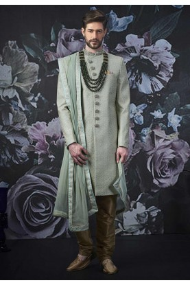 Green Colour Wedding Sherwani For Groom.
