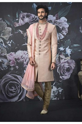 Indian Wedding Sherwani Pink Colour.