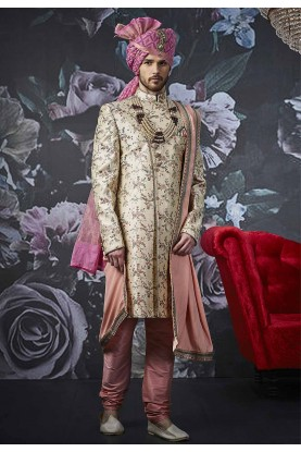 Beige Colour Men's Designer Sherwani.