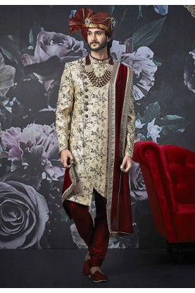 Beige Colour Sherwani For Groom.