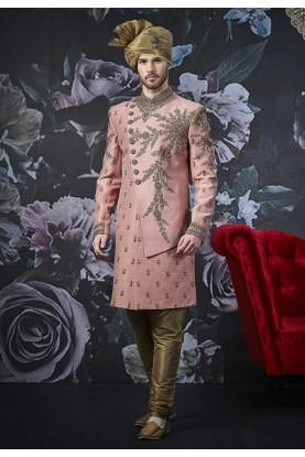 Pink Colour Banarasi Silk Indo Sherwani.