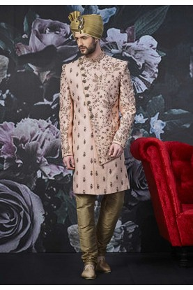 Pink Colour Men's Sherwani.