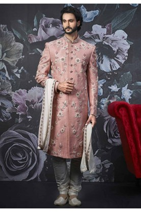 Pink Colour Indian Wedding Sherwani.