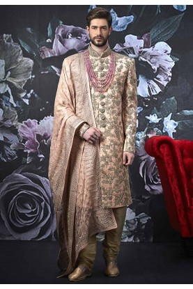 Peach Colour Designer Sherwani.