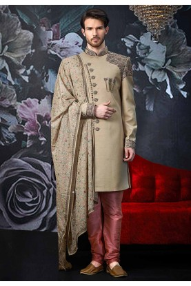 Beige,Golden Colour Sherwani for Groom.