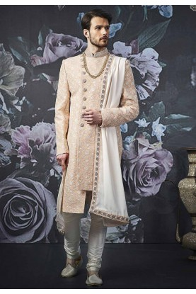 Peach Colour Indian Designer Sherwani.