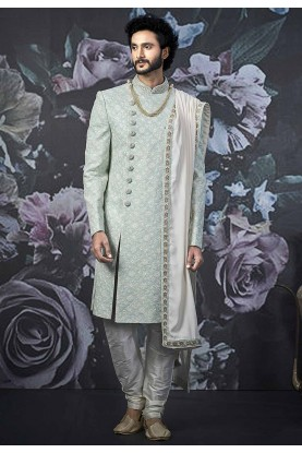 Wedding Sherwani Sea Green Colour.