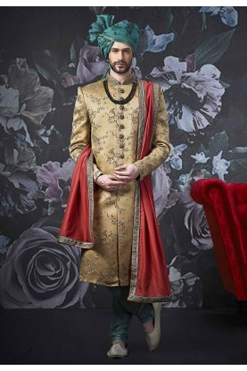 Designer Sherwani Golden Colour.