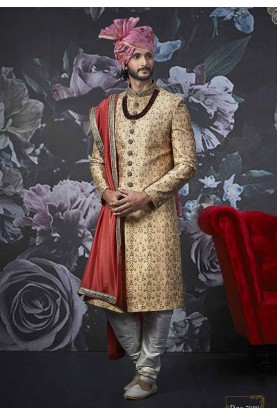 Golden Colour Men's Sherwani.