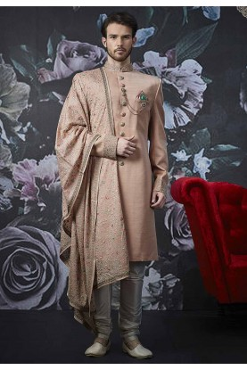 Peach Colour Banarasi Silk Men's Sherwani.