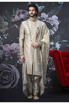 Cream Colour Indian Designer Sherwani.