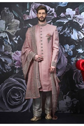 Pink Colour Banarasi Silk Men's Sherwani.