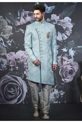 Sky Blue Colour Men's Indo Sherwani.