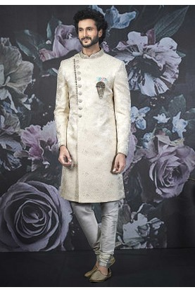 Cream Colour Brocade Silk Designer Indo Sherwani.
